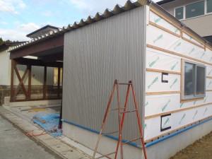 物置外壁施工